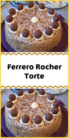 Ferrero Rocher Torte Ingredients 1 cake base (Viennese biscuit base lighter, higher, 3 parts) 4 cups of cream 2 pt. Confectionery (Ferrero Rocher) Preparation Set 6 pieces of Rocher aside for de Healthy Dessert Recipes, Cookie Recipes, Paleo Dessert, Fudge Recipes, Ferrero Rocher Torte, Viennese Biscuits, Red Wine Gravy, Best Pie, Flaky Pastry