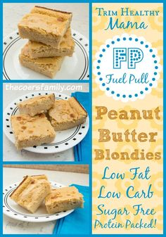 Trim Healthy Mama Fuel Pull Peanut Butter Blondies from thecoersfamily.com Low Carb, Low Fat, Sugar Free! #THM #TrimHealthyMama #SugarFree #LowCarb #LowFat