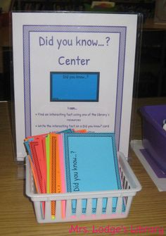 Did You Know? Center | Mrs Lodge's Library - have students record the source, too.