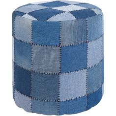 Artist's Loom Handmade Cylindrical Denim Fabric Pouf