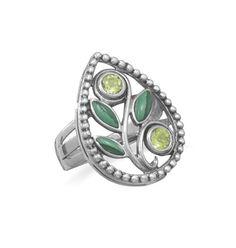 Malachite and Peridot Ring