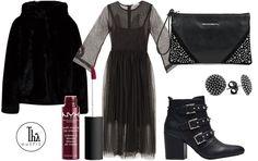 Thy Outfit #9 – Black is back | Vestito in tulle di #Motivi, Pelliccia sintetica con cappuccio del brand #LiuJo, tronchetti neri in ecopelle dal tacco largo di Gaudì, mini pochette del brand Rinascimento. Accessori: orecchini di Nove25, per le labbra una tinta di #NYX, la Soft Matte Lip Cream dal finish super matte e dalla lunga durata. #outfit #moda #donna