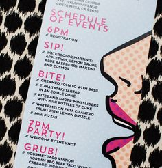 15 Pop Art Wedding Ideas to Steal Now LOVE the Retro itinerary!  So much fun!
