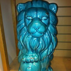 The guardian of my bedroom! Pier 1 Turquoise Ceramic Lion