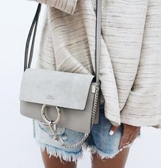 Chloe shoulder bag, oatmeal top, denim shorts