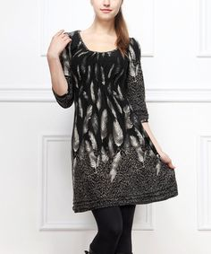 Look what I found on #zulily! Black & Gray Leopard Feather Scoop Neck by Reborn Collection #zulilyfinds