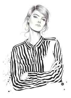 Contemporary Illustration- Illustrator: Esra Røise- Week 7/Eduardo: Graphite Pencil- From: Oslo, Norway- Year: Unknown- Materials: Graphite Pencil, Watercolour, Ink?, Pen?, Gauche?- I like the realistic style and the graphite focuses face, with the other materials used on the garment. This creates a nice contrast and focus. The realistic style of shading and line work and black and white focus is appealing.