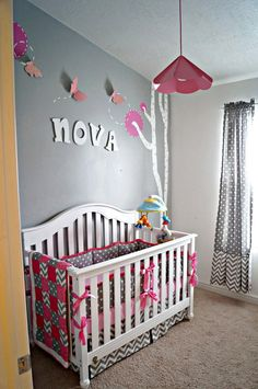 Baby girl's pink and grey nursery with Chevron.