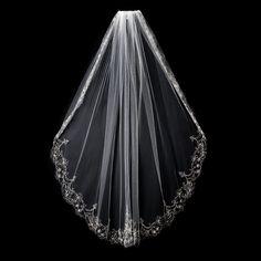 Lots of sparkle on this elegant veil! Beaded Embroidery Fingertip Bridal Veil - affordableelegancebridal.com