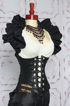 Black Faux Leather Assassin Corset with Bullet Detail by Damsel in this Dress