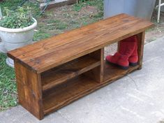 Classic Solid Pine Rustic Bench With A Boot Cubby And Two Shelves In Honey  Walnut Stain