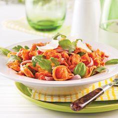 Tortellinis au jambon et basilic, sauce rosée - 5 ingredients 15 minutes