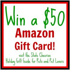 Visit the Stale Cheerios 2014 Holiday Gift Guide for Pets and Pet Lovers and enter to win a $50 Amazon gift card! #giveaway Great gift ideas for dogs, cats, horses, and other animals and pets.