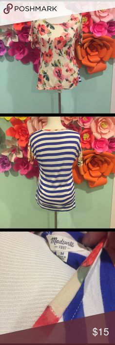 Madewell Floral & Stripe Tee Cute  super soft floral and striped top from Madewell. Gently worn, great condition. 100% Viscose. Hand wash cold. Madewell Tops Tees - Short Sleeve