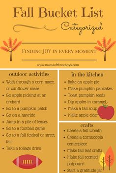 Fall Bucket List (free printable) family friendly