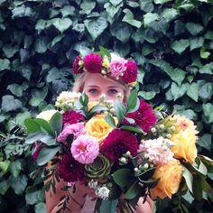 Boho bouquet & floral crown  Courtesy of Blush & Vine
