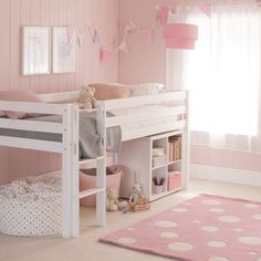 Hudson European Single Mid Sleeper bed with storage bookcase Little Folks Furniture Colour Bed Frame: White Girls Cabin Bed, Bed For Girls Room, Girls Bunk Beds, Girl Room, Ikea Girls Bedroom, Little Girl Beds, Bunk Bed Designs, Girl Bedroom Designs, Bedroom Ideas