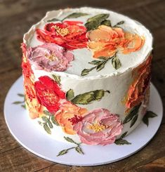 Beautiful Cakes, Amazing Cakes, Bolo Diy, Pretty Birthday Cakes, Gateaux Cake, Traditional Cakes, Painted Cakes, Just Cakes, Cake Decorating Techniques