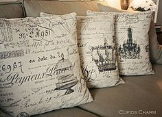 French script pillows - Cupids Charm