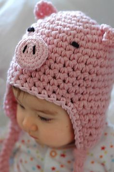 Piggy Hat @etsy #pig #hat #pink #baby #kids #hat #warm