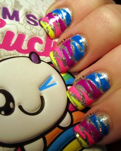 #neon #nails #animalprint  FB @ GAME N GLOSS