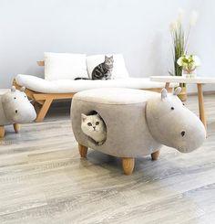 Elephant Piggy Suede Foot Stool Indoor Designer Cat Cave Bed For Small Medium Cats - Katzen Diy Cat Bed, Diy Bett, Cat Cave, Cat Room, Pet Furniture, Pet Accessories, Cushions, Indoor, Pets