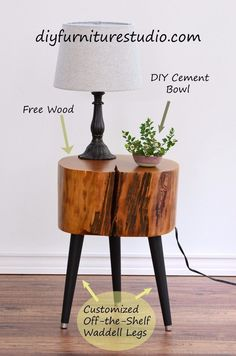 How to Make a Tree Stump Side Table With DIY Legs
