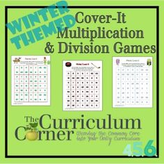 Winter Cover-It Multiplication & Division Games by The Curriculum Corner - three different, free game boards for practicing basic facts