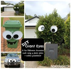 DIY Giant Googly Eye Decoration @ Paging Fun Mums: Wow–how cool are these FUN Giant Eyes? We love how they look hanging in the bush in our front yard…and on the Car & Rubbish Bin. Casa Halloween, Holidays Halloween, Vintage Halloween, Halloween Party, Happy Halloween, Halloween 2019, Halloween Carnival, Outdoor Halloween, Hallowen Ideas