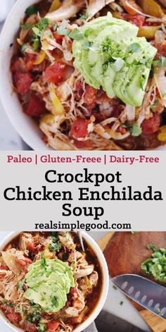 Since the weather turned chilly this crockpot chicken enchilada soup is one that we ve had on repeat It s so tasty and warming Paleo Gluten Free Dairy Free realsimplegood. Crock Pot Recipes, Paleo Crockpot Recipes, Slow Cooker Recipes, Diet Recipes, Healthy Recipes, Healthy Meals, Healthy Soup, Paleo Crockpot Chicken, Clean Eating Snacks