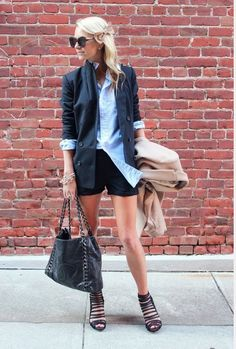 Casual shorts, paired with button down, blazer, gladiator heels. Perfect.