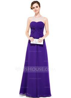 Evening Dresses - $139.99 - Sheath/Column Scoop Neck Floor-Length Chiffon Tulle Evening Dress With Ruffle Beading Sequins (017051164) http://jjshouse.com/Sheath-Column-Scoop-Neck-Floor-Length-Chiffon-Tulle-Evening-Dress-With-Ruffle-Beading-Sequins-017051164-g51164
