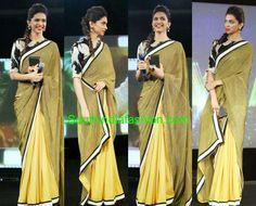Deepika Padukone in Half and Half Saree ~ Celebrity Sarees, Designer Sarees, Bridal Sarees, Latest Blouse Designs 2014