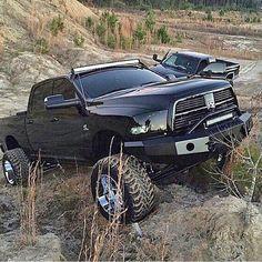 Sleek ALL Blacked out Dodge Cummins on a Hillside Lowered Trucks, Jacked Up Trucks, Ram Trucks, Dodge Trucks, Cool Trucks, Pickup Trucks, Dodge Cummins, Cummins Diesel, Diesel Trucks