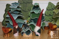 Felt accented gnomes, I love those stacked felt trees too!