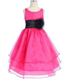 Pink and Black Flower Girl Dress