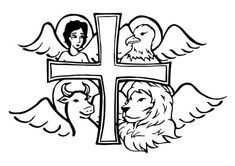 """The Four Symbols on the Book of the Gospels - The books of the Gospels or """"good news"""" tell the story of Christ's life, death and resurrection. They were written by Matthew, Mark, Luke, and John who are called the four evangelists. Mark The Evangelist, Gospel Reading, Four Gospels, Catholic Kids, Christian Symbols, The Good Shepherd, Religion, Butterfly Wallpaper, Scripture Art"""