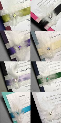 gorgeous wedding invitations with feathers, lace, ribbon and crystal brads
