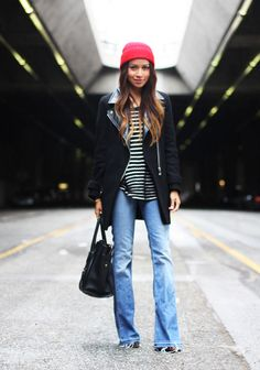 flares, beanie, stripes, jacket