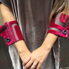 Velvet wrist cuffs  unique one of a kind accessories