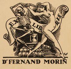 Ex Libris - Valentin Le Campion for Dr. Ex Libris, Vintage Posters, Vintage Art, Vintage Graphic, La Danse Macabre, Satanic Art, Linoprint, Drawing Reference Poses, Medieval Art