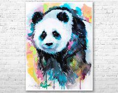 Acuarela de Panda pintura grabado por Slaveika Aladjova, arte, animal, Ilustración, decoración del hogar, infantil, regalo, fauna, arte de la pared