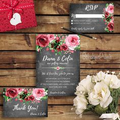 Floral Chalkboard Wedding Invitation Flower Wedding Invitation Rustic Wedding…
