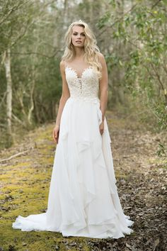 Lace Bodice with Illusion Back and Soft Tiered Skirt by Lillian West Bridal