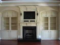 Bookcase Built In Bookshelves Around Fireplace