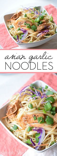 The Best Asian Garlic Noodles from Simply Shellie-These Asian Garlic Noodles are the perfect weeknight meal. Buttery, garlicky and EASY! Stove to table in under 30 minutes. Easy Chicken Recipes, Crockpot Recipes, Healthy Recipes, Easy Recipes, Indian Food Recipes, Asian Recipes, Ethnic Recipes, Chinese Recipes, Chinese Food
