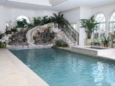 Exterior, Landscaping Pictures Indoor Pools Splendid Rectangular Indoor Pool Design With Garden Shaped Slide Pool A Collection Of Incredible Indoor Pool Design: Assortment of Unbelievable Indoor Pool Designs