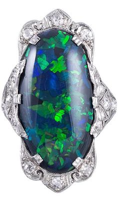 Magnificent Art Deco Black Opal Plaque Ring  ht