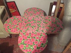 Petite Table Formica Decor Fleur Forme DE Fleur Kitch   eBay