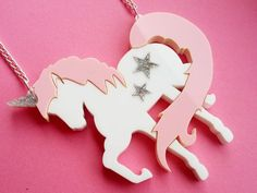 Acrylic Unicorn Necklace UNICORNZZZ Pink and by GlitterbombUK